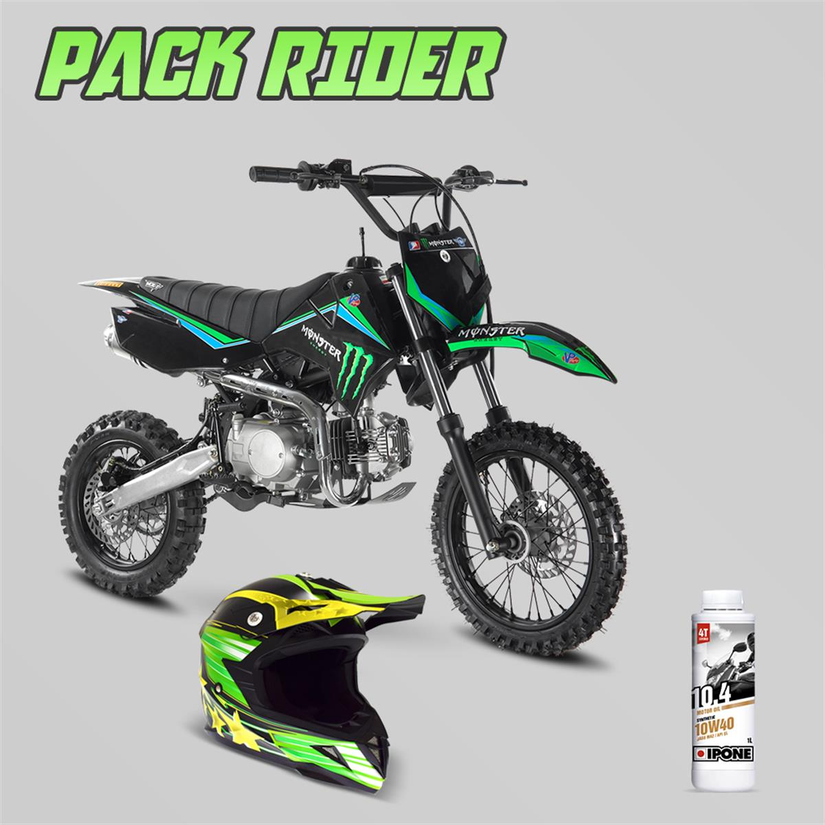 Pack Rider Dirt Bike 125cc Lx Casque Cross Huile 10w40 Smallmx
